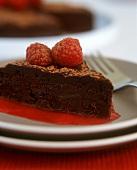 Piece of chocolate cake with raspberry sauce