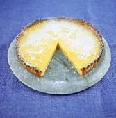 Lime tart, a piece cut