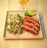 Medium-rare tuna with Asian noodles