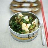 Spicy cauliflower with broccoli and spinach