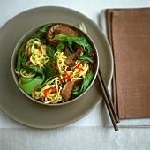 Egg noodles with beef and pak choi