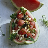 Water melon with sheep's cheese
