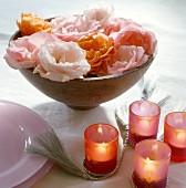 Middle Eastern table decoration with roses and candles