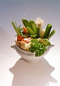 Meat and soup vegetables in soup tureen
