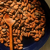 Cocoa beans with kitchen spoon