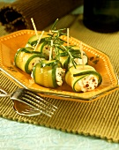 Courgette rolls with soft cheese filling