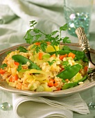 Risotto with leeks, carrots and mangetouts