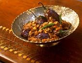 Baghara baingan (aubergines in peanut sauce, India)