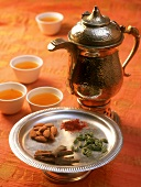Kahwa (green tea from Kashmir); spices and almonds