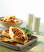 Pide (Turkish flatbread with mince), yoghurt