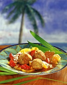 Chicken rissoles in honey sauce with pineapple and peppers