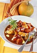 Pumpkin and potato goulash with QimiQ