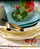 Place-setting with leaf as place-card