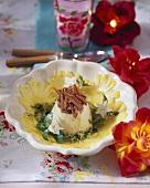 Ananascarpaccio mit Vanillecreme