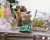 Summer buffet with salad and drinks