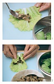 Stuffing Chinese cabbage leaf with mince