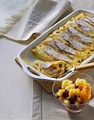 Topfenpalatschinken (filled pancakes) with compote