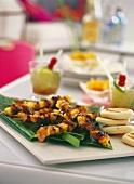 Barbecued pork and pineapple kebabs