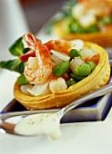 Shrimp and bean salad in bowl