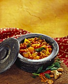 Sambhar (lentils with pumpkin and aubergine, India)
