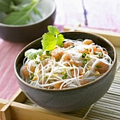 Glass noodles with shrimps and coconut whip (Thailand)