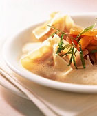 Lobster wonton on tomato compote with tarragon