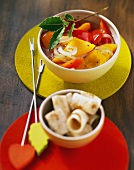 Sweet and sour pepper compote with tortilla rolls