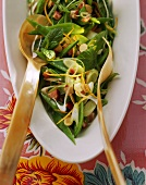 Mangetout pea salad with bacon and mint