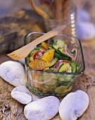 Courgette salad with salami and oranges for picnic
