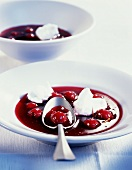 Cold sour cherry soup with egg white dumplings