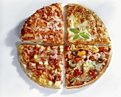 Four pizza quarters with different toppings