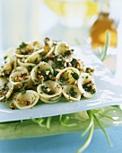Orecchiette with nut sauce and coriander leaves