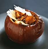Pumpkin with mushroom stuffing and Parmesan shavings