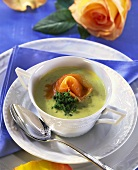 Courgette and cress soup with salmon