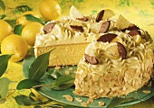Lemon butter cream cake with flaked almonds