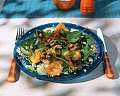 Bulgur wheat salad with grilled lamb, spinach and apricots