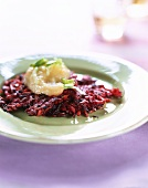 Carp jelly with beetroot and mushrooms
