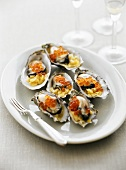 Oysters with leeks and salmon caviare