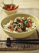 Rice noodle salad with beef, coriander and palm sugar