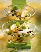 Lemon quark with pistachios and lemon balm