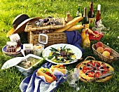 French picnic with salade niçoise, anchovy tart etc.