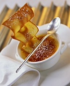 Crème brulee with wafer