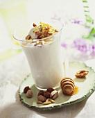 Milkshake with vanilla ice cream, nuts and honey