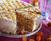 Sponge cake with kumquats, a piece cut