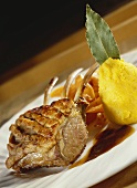 Roast rack of lamb with polenta dumpling