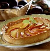 Peach tart with fresh mint