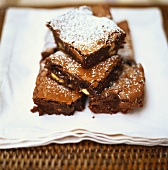 Almond brownies with icing sugar