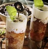 Coffee granita with cream in glasses