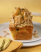 Olive cake with saffron and almonds