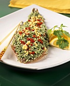 Sole with herb and coconut crust